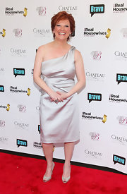 A pair of silver peep-toes added a dose of sparkle to Caroline Manzo's look.
