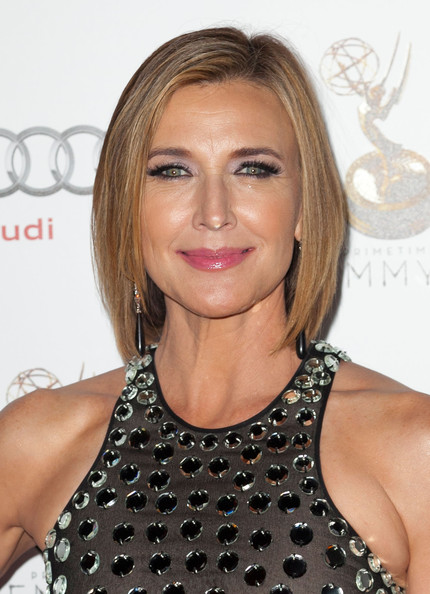 Brenda Strong Bob [hair,face,hairstyle,blond,eyebrow,lip,beauty,chin,shoulder,cocktail dress,brenda strong,performer nominees,wolfgang puck,spectra,pacific design center,west hollywood,california,academy of television arts sciences,64th primetime emmy awards,reception]