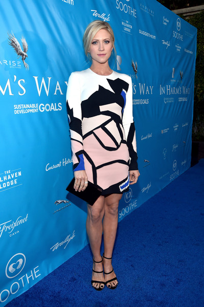 Brittany Snow looked exuberant in a colorful abstract-print dress by Nicolas Jebran while attending a UN event.
