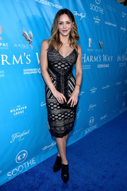 Katharine McPhee cut a shapely silhouette in this beaded, mixed-pattern frock while attending a UN event.