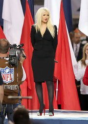 Christina Aguilera sang the the national anthem at Super Bowl XLV in red Calypso pumps featured blue crystal-adorned toes and black leather trim.