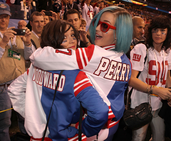 More Pics of Katy Perry Track Jacket (3 of 19) - Outerwear Lookbook - StyleBistro [product,fan,crowd,team,event,competition event,championship,player,katy perry,indianapolis,indiana,lucas oil stadium,bridgestone,pregame show,super bowl xlvi]