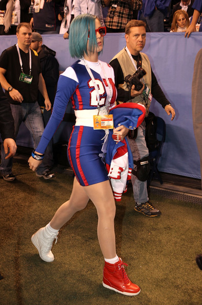 More Pics of Katy Perry Track Jacket (4 of 19) - Outerwear Lookbook - StyleBistro [clothing,costume,cosplay,fan convention,human leg,event,suit actor,anime,fictional character,games,katy perry,indianapolis,indiana,lucas oil stadium,bridgestone,pregame show,super bowl xlvi]