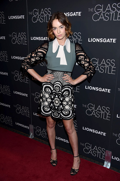 Brigette Lundy-Paine Strappy Sandals [clothing,carpet,fashion,premiere,red carpet,dress,joint,flooring,fashion design,cocktail dress,brigette lundy-paine,the glass castle,new york,sva theatre]