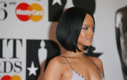 Rihanna attended the Brit Awards wearing her hair in a demure bob.