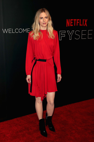 Brit Marling Mini Dress [clothing,carpet,fashion model,red,red carpet,footwear,flooring,fashion,shoulder,joint,arrivals,brit marling,fysee,beverly hills,california,netflix fysee space,netflix,kick-off,event,fysee kick off event]
