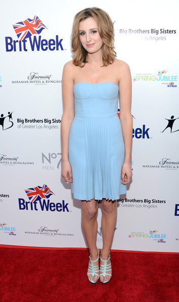 Laura Carmichael stepped out at the Britweek event in a pair of strappy turquoise heels.