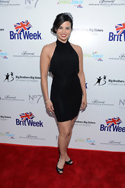 Katrina Law looked sexy and chic in a fringed black halter dress at the BritWeek Celebrates Downton Abbey event.