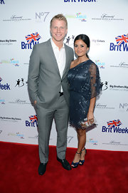 Catherine Giudici chose a teal sheer-overlay one-shoulder dress for the BritWeek Celebrates Downton Abbey event.