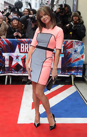 Amanda Holden arrived at 'Britain's Got Talent' auditions in a mod color-block dress.