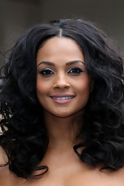Alesha Dixon wore modern metallic silver sweeps of eyeliner at the London auditions for 'Britain's Got Talent.'