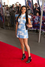 Alesha Dixon paired buckled cutout boots with a cloud-print dress for a unique look during the 'Britain's Got Talent' press launch.