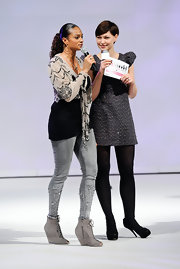 Alesha Dixon looked a little rugged on 'Britain's Next Top Model' with her gray wedge boots and frayed skinnies combo.