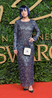 Lily Allen chose a metallic purple lace gown by Chanel for her British Fashion Awards look.