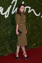 Tallulah Harlech was military-chic in an olive-green shirtdress during the British Fashion Awards.