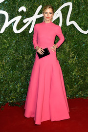 Laura Bailey brought a heavy dose of sweetness to the British Fashion Awards red carpet with this long-sleeve pink Emilia Wickstead gown.