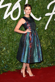 Pixie Geldof struck the perfect balance between feminine and edgy with this multicolored snakeskin-patterned jacquard dress by House of Holland.