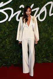 Ashley Madekwe opted for mannish elegance with this white Banana Republic pantsuit at the British Fashion Awards.