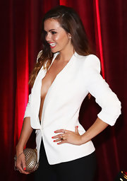 Jennifer Metcalfe's spiked gold clutch was a wild finish to her British Soap Awards look.