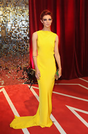 Lucy Dixon lit up the British Soap Awards red carpet in a bright yellow evening dress.