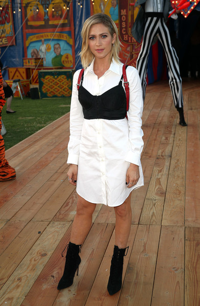 Brittany Snow Lace Up Boots [white,clothing,fashion,footwear,leg,costume,uniform,knee,dress,human leg,brittany snow,moschino spring,menswear,summer 19 menswear and womens resort collection,california,burbank,los angeles equestrian center,womens resort collection]