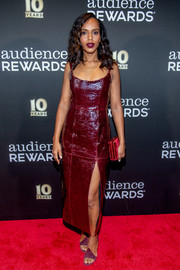 Kerry Washington was edgy-sexy in a high-slit burgundy leather dress by Markarian at the Broadway Loyalty Program Audience Rewards 10th anniversary celebration.