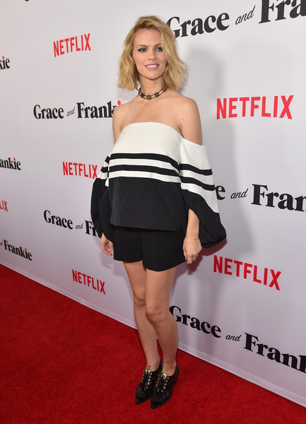 Brooklyn Decker Short Shorts [grace and frankie,clothing,shoulder,dress,premiere,joint,carpet,cocktail dress,footwear,red carpet,strapless dress,red carpet,brooklyn decker,california,los angeles,regal cinemas l.a. live,netflix,premiere,premiere]