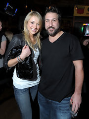 Katrina Bowden posed with former N'SYNC member Joey Fatone at a New York event. She toted around a patent leather textured clutch while attending the event.