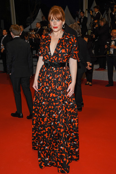 Bryce Dallas Howard Print Dress [rocket man,fashion model,clothing,carpet,red carpet,fashion,flooring,premiere,haute couture,event,dress,bryce dallas howard,rocketman red carpet,screening,cannes,france,the 72nd annual cannes film festival]