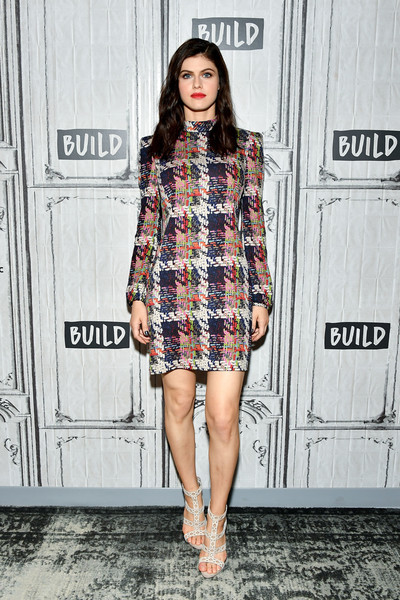Alexandra Daddario looked smart in a painterly plaid mini dress while visiting the Build Series.