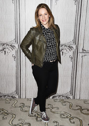 Jessie Mueller looked tough in an army-green leather jacket while attending Build Presents 'Waitress.'