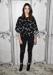 Sara Bareilles attended Build Presents 'Waitress' wearing a loose bird-print blouse.
