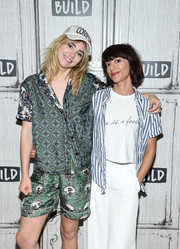 Suki Waterhouse looked zany in her pajamas while visiting the Build studios.