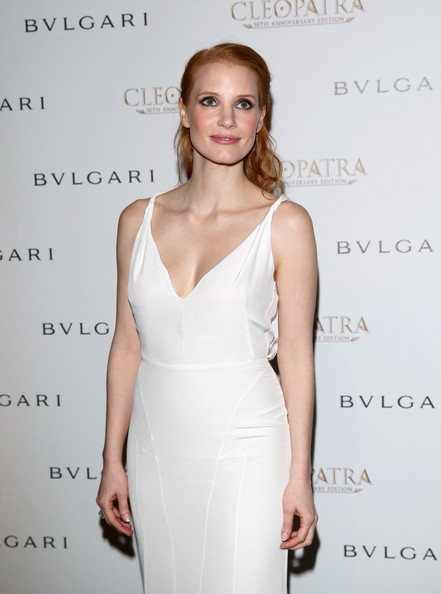 More Pics of Jessica Chastain Half Up Half Down (1 of 11) - Half Up Half Down Lookbook - StyleBistro