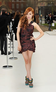 Tiffany topped off her printed mini dress with tribal-inspired platform sandals.