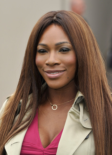 Serena Williams' chocolate brown tresses looked sleek and straight at the Burberry Mens Runway Show.