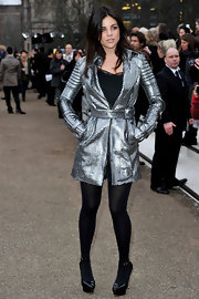 Julia was a futuristic fashionista in a metallic coat at the Burberry fashion show in London.