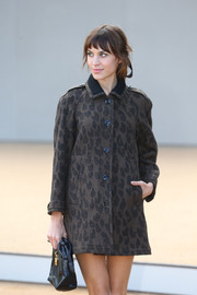 Alexa Chung chose a printed wool coat for the Burberry Prorsum fashion show.