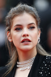Barbara Palvin wore her hair in a messy half-up style at the Cannes Film Festival screening of 'Burning.'