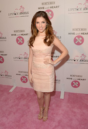 Anna Kendrick paired her dress with sexy-glam pink strappy sandals by Giuseppe Zanotti.