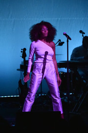 Solange Knowles looked sassy in a white one-shoulder top while performing at the Busboys and Poets' Peace Ball.