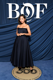 Aimee Song kept it classic and elegant in a strapless midnight-blue gown at the 2019 #BoF500 Gala.