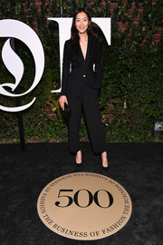 Liu Wen kept it simple yet smart in an embellished black pantsuit by Barbara Bui at the #BoF500 gala.