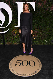 Carine Roitfeld chose a mixed-material LBD with an asymmetrical hem for the #BoF500 gala.