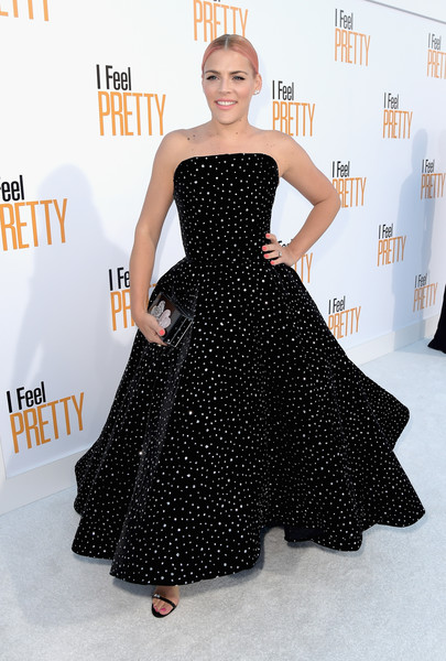 Busy Philipps Box Clutch [stx films,i feel pretty,red carpet,dress,clothing,fashion model,strapless dress,shoulder,gown,carpet,fashion,hairstyle,polka dot,busy philipps,california,westwood village theatre,westwood,premiere,premiere]