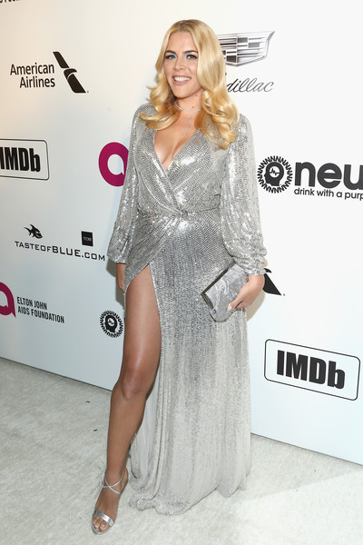 Busy Philipps Wrap Dress [clothing,dress,shoulder,fashion model,red carpet,carpet,hairstyle,blond,cocktail dress,leg,imdb,imdb live,california,los angeles,elton john aids foundation academy awards\u00e2\u00ae viewing party,busy philipps]