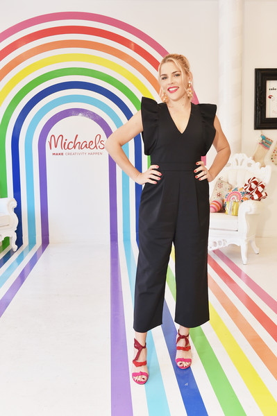Busy Philipps Strappy Sandals [season,clothing,fashion,yellow,pink,design,footwear,trousers,dress,pattern,neck,busy philipps,michaels,diy gifts,master class,holiday presents,flair,nyc,busy philipps holiday gifting event,celebration]
