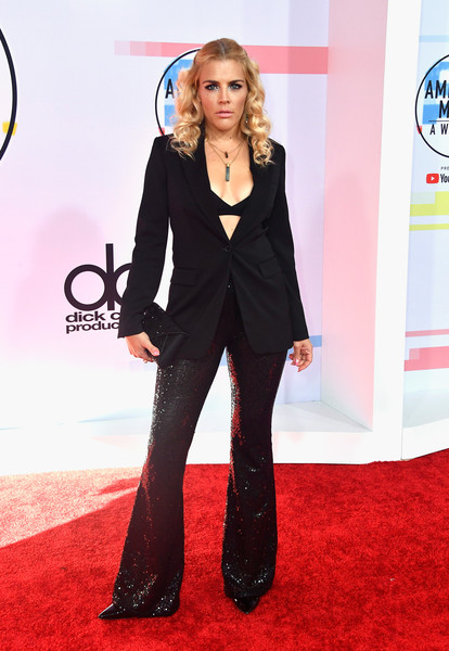 Busy Philipps Blazer [flooring,carpet,suit,formal wear,red carpet,fashion,fashion model,tuxedo,arrivals,busy philipps,american music awards,microsoft theater,los angeles,california]