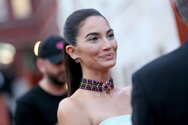 Lily Aldridge made our eyes pop with her Bulgari gemstone statement necklace during the brand's dinner and party in Rome.