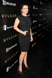 Julia Ormond's unexpected brown suede platforms were a knockout choice for her well-tailored black frock.